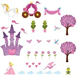 My Wonderful Walls Repositionable and Removable Blonde Princess Theme Wall Stickers, Multicolored