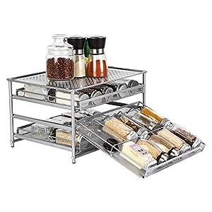 NEX 3-Tier Spice Rack 30 Bottle Standing Spice Drawer Storage Organizer for Kitchen Cabinet Countertop Silver