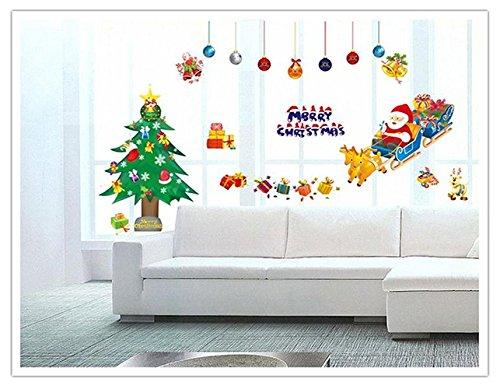 Santa Claus Wall (Christmas Trees Santa Claus Sleigh Bells Wall Stickers DIY Mural Art Decal Self Adhesive Removable PVC Wall Paper Decor,19.7 inch27.6 inch Original)