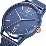MINI FOCUS Fashion Black Blue Plating Stainless Steel Mesh Adjustable Band Men Business Watch With Brief Index