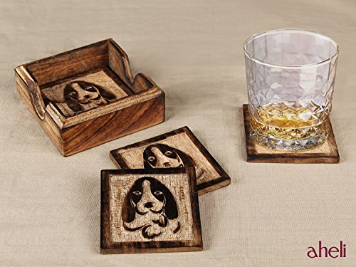 Set of 4 Wooden Dog Design Coasters with Holder for Drinks Tea Coffee Mug Bar Coaster Barware Dining Decor - Aheli by aheli (Image #1)