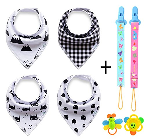 Polyester Training Bibs (ZZLAY Baby Bandana Bibs Set 4-Pack & 2 Teeth Toys, 2 Pacifier Chain Clip Adjustable Snaps 100% Organic Cotton)