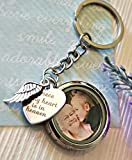 Silver Memorial Photo Locket Key Chain - Memory Picture Locket Sympathy Gift Glass floating magnetic locket key ring angel wing