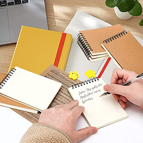 HAKACC Blanko A6 Spirale Notizblock, 8 Stück Klein Notizbuch 80 Blatt Notizheft Skizzenblock Journal Tagebuch Schreibblock Zeichenblock
