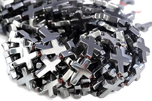 17x14MM Black Hematite Cross Grade AAA Natural Gemstone Loose Beads 7.5