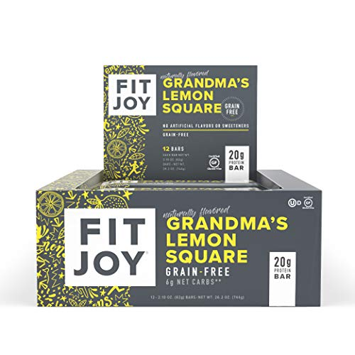 FitJoy Protein Bar, Gluten Free, Grain Free, Low Sugar, High Protein Snack, Grandma's Lemon Square, Pack of 12 Bars (Packaging May Vary) ()