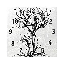SEULIFE Wall Clock Skull Tree of Life, Silent Non Ticking Clock for Kitchen Living Room Bedroom Home Artwork Gift