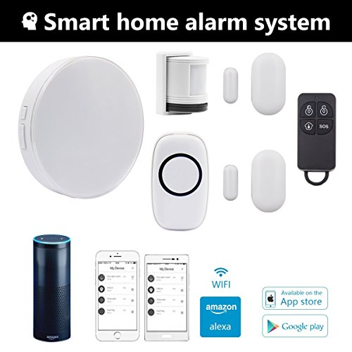 Wireless Smart Home Security Alarm System with Siren, Wifi Alexa Compatible Home Security System,App Compatible with IP Camera Control by IOS&Andriod Smartphone Compatible Systems