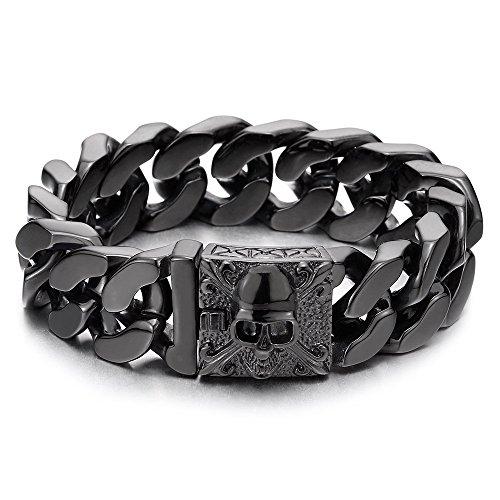 (COOLSTEELANDBEYOND Mens Large Black Steel Curb Chain Bracelet with Fleur De Lis and Skull, Biker Gothic, Polished)