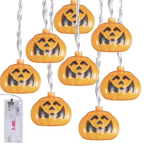 HDE Pumpkin String Lights LED Battery Operated Holiday String Lights with 10 Orange Light Up Jack-O-Lanterns (Orange, 8ft Length) (Jack Lanterns Light Up O)