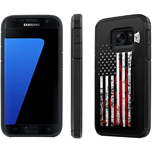 Galaxy [S7] [5.1 Screen] Defender Hybrid Case [SlickCandy] [Black/Black] Dual Layer Protection [Kick Stand] [Shock Proof] Phone Case - [Fire Fighter Axe Flag] for Sales