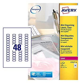 avery self adhesive clear mini organising return address labels