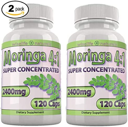 Moringa Oleifera Capsules 4X Potency Moringa Powder – Super Greens Supplement Powder High Chlorophyll Capsules – Prenatal Dha Breast Feeding Supplements Conception Fertility Prenatal Vitamins Bulk X2