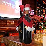 Whitelotous Christmas Santa Hat & Scarf Holiday Wine Bottle Wrap Cover Topper Party Decor