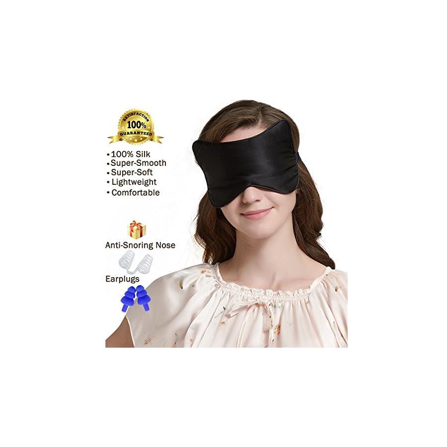 SLIPING Unique Cat Face Natural Silk Sleep Mask & Blindfold,Lightweight,Super Smooth and Super Soft Deep Sleeping Aid Eye Mask for Night,Nap,Travel,Yoga,Adjustable Strap for Men,Women or Kids(Black)