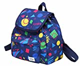 MIETTE Small Backpack Purse Flap Bag | Fits iPad Mini | 11''x9.8''x5.1 | Geometrics, NavyBlue