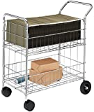 Fellowes Chrome-Plated Steel Wire Mail Cart with Upper and Lower Baskets (40912)