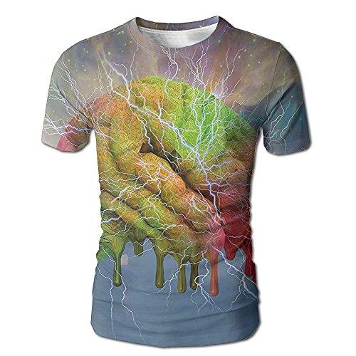Kooiico Men's Psychedelic Brain Storm Fantasy Visual Modern Mental Ethereal Energy Artful Fictio Classic T Shirts White XL