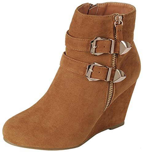 Forever Link Women's Ankle Strappy Buckle Zipper Wrapped Wedge Ankle Bootie,Color:Tan, Size:9