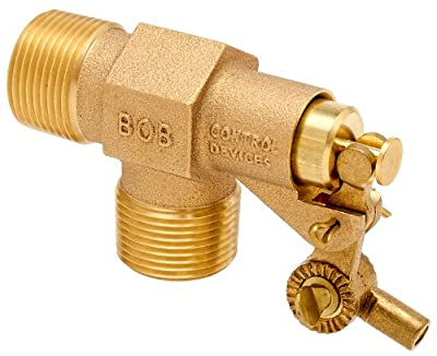 "Robert Manufacturing R400-3 Series Bob Brass Livestock Watering Float Valve Assembly with Stem and Swivel, 1/2"" NPT Male Inlet x 1/2"" NPT Male Outlet, 125 psi Pressure by Control Devices"