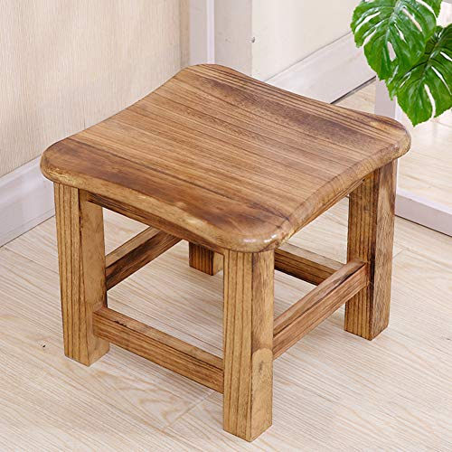 OTTOMAN&STOOLL Stool Solid Wood Small Footrest Stool Bench, Wooden Small Plain Stool Child Kids Changing Shoes Stool Teak Shower Bench-D 28x28cm(11x11inch)