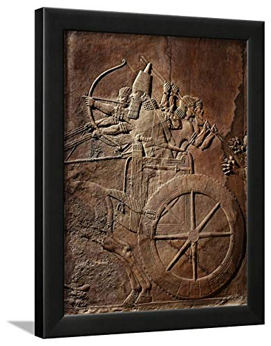 - ArtEdge King Ashurbanipal on His Chariot, Assyrian Reliefwork, from Palace at Nineveh, 650 BC Black Framed Wall Art Print, 16x12 in