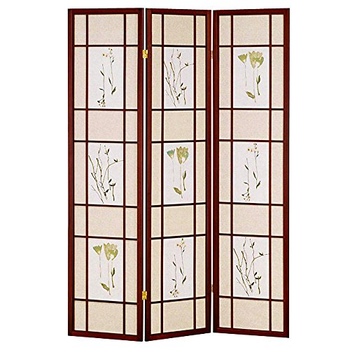 - HONGVILLE Shoji Floral Prints Screen Design Wood Framed Room Divider, 3 Panel, Cherry