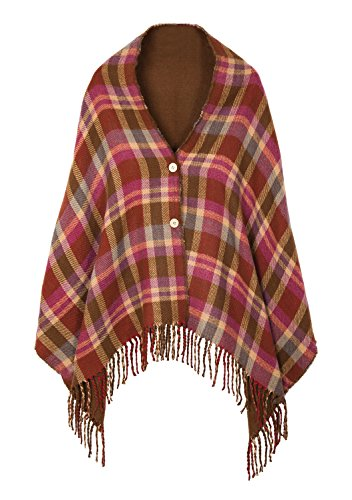 Women's Vintage Plaid Knitted Tassel Poncho Shawl Cape Button Cardigan (One Size,Series 1 Coffee) (Plaid Poncho)