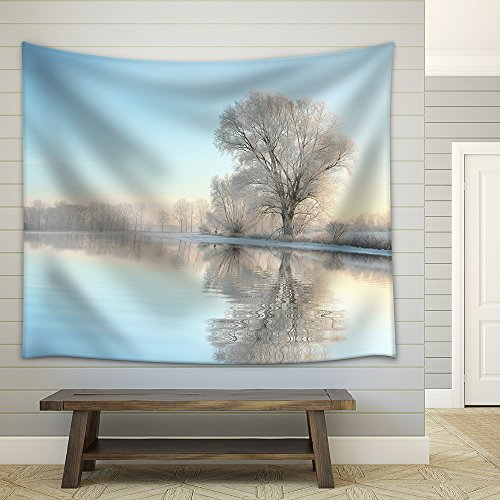 Picturesque Winter Landscape of Frozen Trees Lit by the Rising Sun Fabric Wall Tapestry