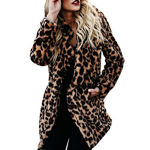 Yellow Vinyl Shelf Guides - HGWXX7 Women's Warm Winter Leopard Print Faux Fur Pullover Jumper Sweatshirt Tops Outwear Coats(2XL,Yellow)
