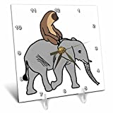 3dRose AllSouthernDesignTees - Zoo Animals - Fun silly lazy sloth riding an elephant - 6x6 Desk Clock (dc_280214_1)