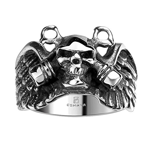 BLOOMCHARM Skull Rings for Men Boys Jewelry Punk Head Stainless Steel Bands Gifts Presents by BLOOMCHARM