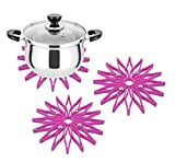 Set of 3 Trivet for Hot Dishes Or Dining Table Pot, Heat Resistant Non-Slip Kitchen Hot Pads Dish Placemats Pot Holder Tableware Mat Coaster Hot Mat (Pink)