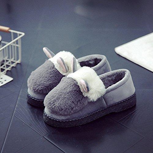 Y-Hui en el invierno Home Furnishing hembra zapatillas de algodón grueso algodón caliente botas de patinaje interior de invierno femenina zapatos zapatillas,Sugerencia: El tamaño es pequeño, gris