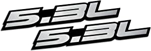 ERPART 5.3L Liter Embossed Silver on Black Highly Polished Silver Real Aluminum Auto Emblem Badge Nameplate (Pack of 2)