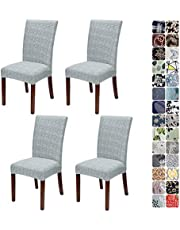 JOTOM Dining Chair Covers Seat Protector Stretch Removable Soft Spandex Decoration Seat Slipcovers for Home Dining Room Hotel Ceremony Banquet Wedding Party (Grey Cross Stripes, Pack of 4)