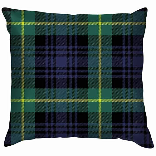 Gordon Tartan Fabric Texture Plaid Cotton Throw Pillow Case Cushion Cover Home Office Decorative, Square 12X12 Inch ()
