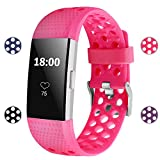 For Fitbit Charge 2 Bands, Soft Silicone Adjustable Replacement Sport Strap Bands for Fitbit Charge 2 Smartwatch Fitness Wristband All Rose Small