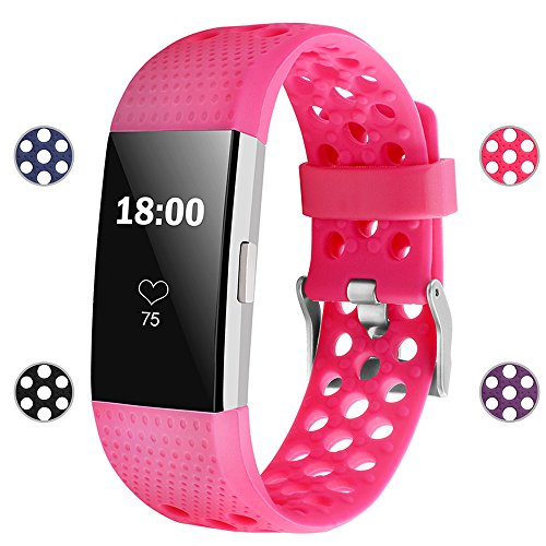 iGK Silicone Replacement Bands Compatible for Fitbit Charge 2, Adjustable Breathable Sport Strap Smartwatch Fitness Wristband with Air Holes All Rose Small