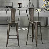 Set of 4-Tolix Style Metal Industrial Stack Barstool Chairs with back,Indoor Outdoor Cafe Bar stoosl - Stackable Metallica Counter Height Stool- Gunmetal