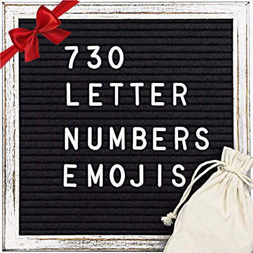 Black Felt Letter Board (10x10) - Maxtek Stand Message Board Wood Vintage Frame Letter Sign Letterboard with 730 Letters, Numbers, -