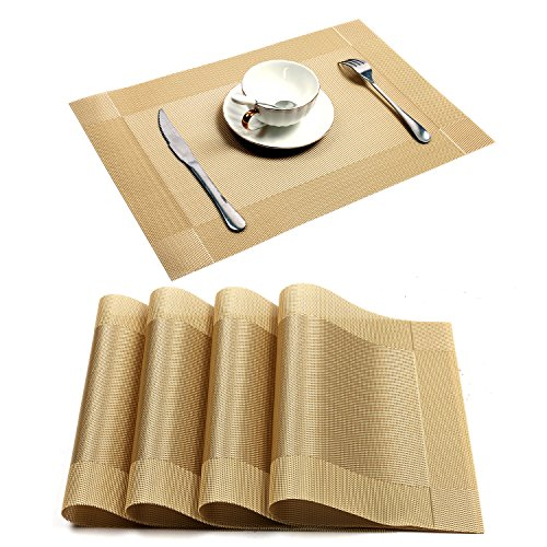 Placemat,U'Artlines Crossweave Woven Vinyl Non-slip Insulation Placemat Washable Table Mats (Gold, 4pcs placemats)