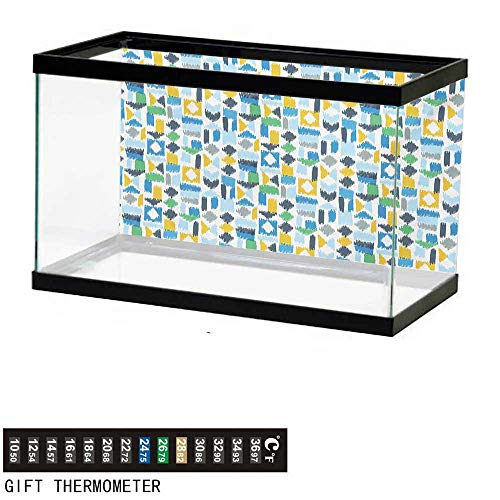 wwwhsl Aquarium Background,Ethnic,Asian Ikat Style Traditional Patched Geometric Graffiti Color Effects Illustration,Multicolor Fish Tank Backdrop 48