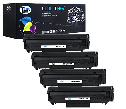 Cool Toner Compatible Toner Cartridge Replacement for HP Q2612A 12A Compatible with HP LaserJet 1010 1012 1015 1018 1020 1022 3015 3020 3030 3050 3052 3055 (Black, 4-Pack)