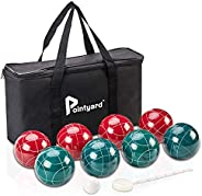 Pointyard Bocce Ball Set, 90mm Classic Bocci Ball Set with 8 Resin Bocce Balls/1 Pallino/Nylon Zippered Bag/Me