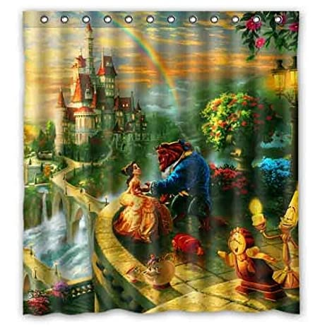 Custom Beauty And The Beast Printed Polyester Shower Curtain Home Decoration 66x72 Inch