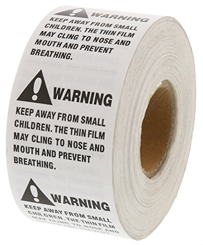 Suffocation Warning Packaging Labels - 1000 White Advisory Labels Per Roll - 2 x 2 inches