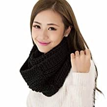 Tenworld Charm Women Infinity 2 Circle Cable Knit Cowl Neck Long Scarf