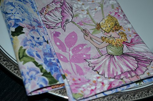 Garden Fairy Lunch Napkins - Blossom Fairies Reversible Cloth Napkins/Set of 4