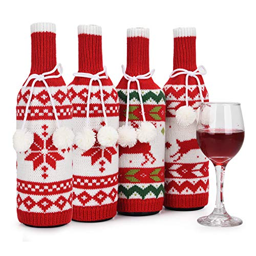 Christmas Wine Bottle Covers, Handmade Sweater Wine Bottle Bags for Christmas Decorations, Reusable Wine Gift Bags for…